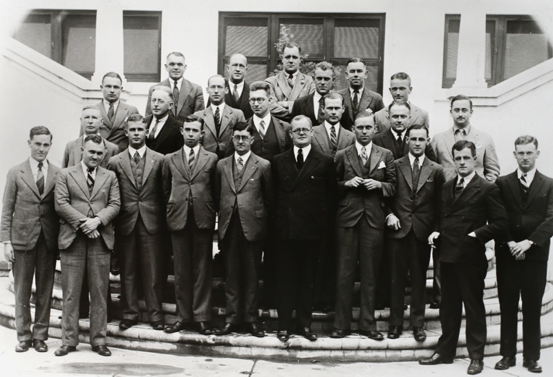 Federal Parliamentary Press Gallery, April 1933. Back row: S K Mitchel (Age), F B Tremearne (Australian United Press), R I Douglas (Sydney Morning Herald), D K Rodgers (Labor Daily) Third row: R B Leonard (Truth), E J Hewitt (Australian United Press), E F Brenton (Melbourne Herald), R Lockwood (Melbourne Herald). Second row: W Farmer Whyte (Federal News Service), C F M Burr (Australian United Press), S Speight (Sydney Morning Herald), O Olsen (Sun), L R McLennan (Argus), C Turnbull (Melbourne Herald). Front row: A D Fraser (Sun), W E Denning (Argus), E W Waterman (Australian United Press, A J Weatherston (Canberra Times), H S Innes (Sydney Morning Herald, Gallery President), J A Alexander (Melbourne Herald), F Folkard (Sun), J F Boyce (Canberra Times), J M Stanley (Daily Telegraph), L E Fitzgerald (Sun Pictorial). Photo: A Collingridge.
