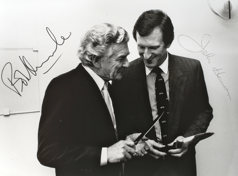 One Year On, August 17, 1989. Prime Minister Bob Hawke with Opposition Leader John Hewson.