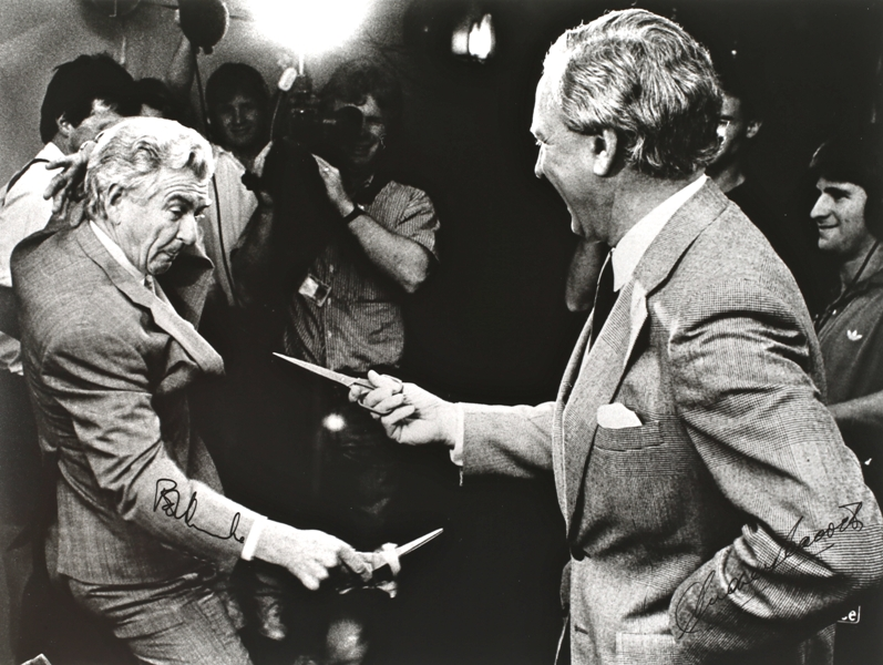Opening of Radio Alley, Nov 29, 1988. Prime Minister Bob Hawke with Opposition Leader Andrew Peacock. Photo: Paul Johns.