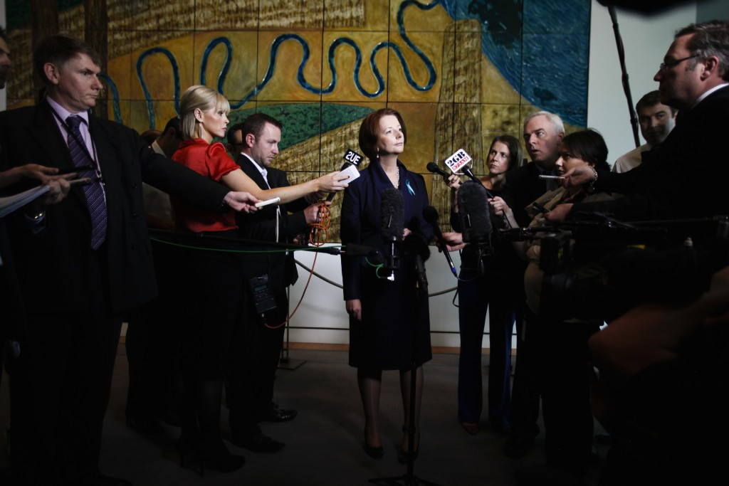Prime Minister Julia Gillard speaks to the Press Gallery at a doorstop in the Mural Hall, Parliament House. Photo: Lukas Coch, courtesy of AAP.