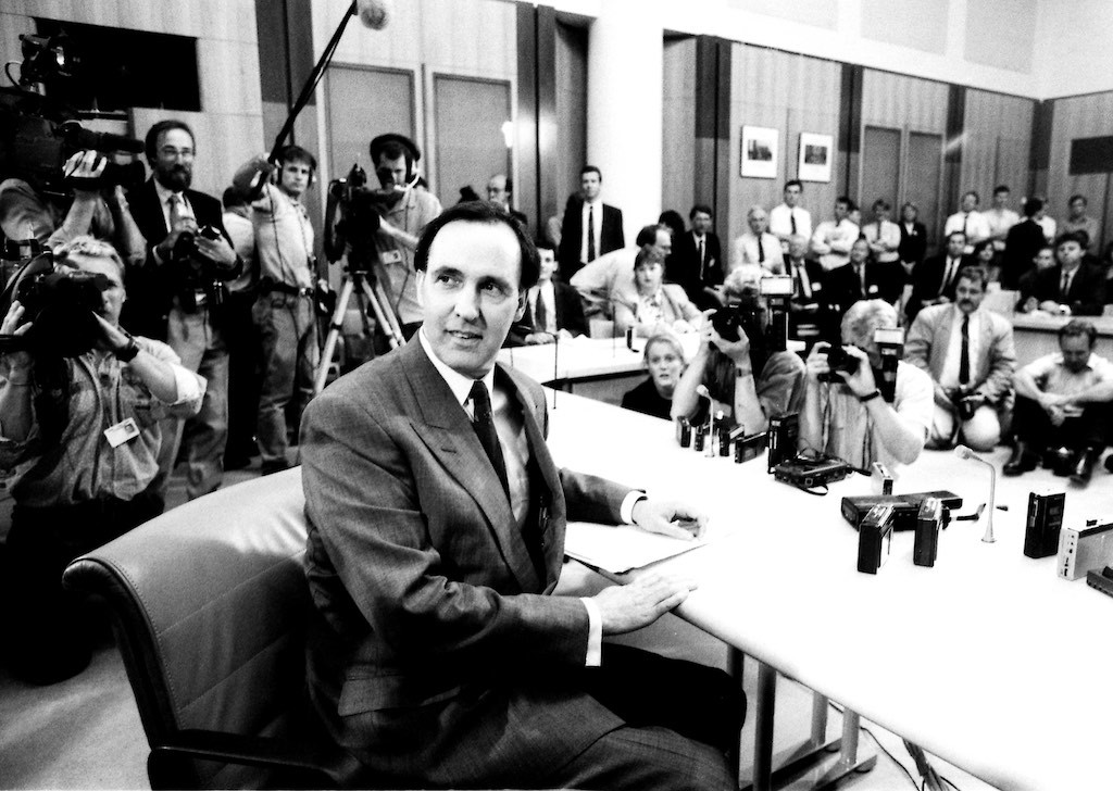 The assembled media at Paul Keating's first press conference after toppling Bob Hawke as Labor leader and subsequently Prime Minister, 19 December 1991. Photo: The Canberra Times.