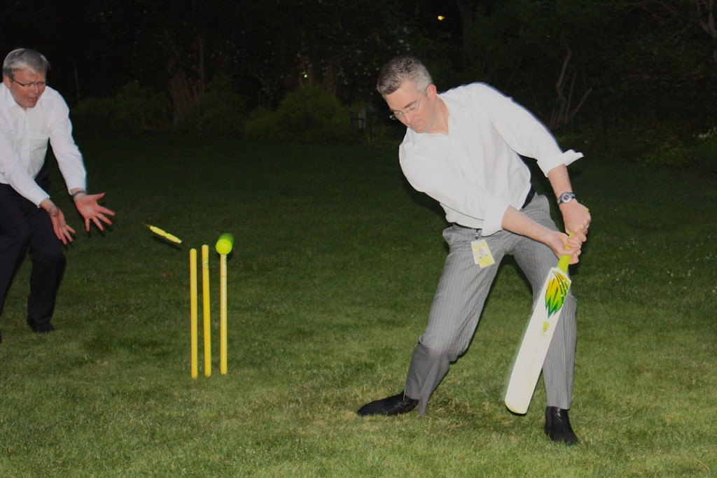 Backyard cricket at the PM's drinks, The Lodge, December 2009. Kevin Rudd keeps as current President of the Federal Parliamentary Press Gallery, David Speers is clean bowled. Photo: Sue Kemp.