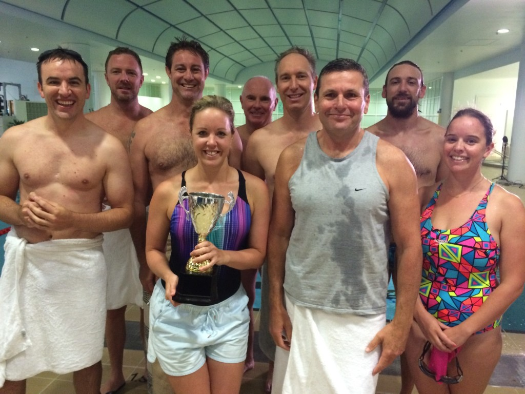 The 2015 Press Gallery swim team. L-R: Andrew Greene (ABC), Heath Aston (Fairfax), Tom Iggulden (ABC), Jane Norman (ABC), Michael Gordon (Fairfax), Nick Butterly (West Australian), Chris Uhlmann (ABC), Stephen Easton (The Mandarin) and Sarah Whyte (Fairfax).