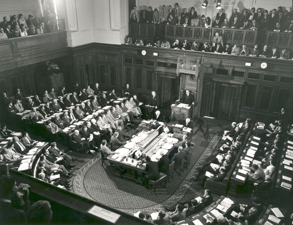 One of the first television broadcasts of Parliament was the historic joint sitting after the double dissolution election in 1974. This photo shows a TV camera on the floor of the house as the Press Gallery above the President's chair was so full of journalists it was standing room only.