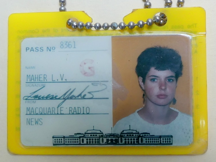 Photo of a parliamentary pass with a passport style headshot of a journalist. At the bottom is an image of the front of Old Parliament House and it is signed by the passholder, but nowhere does it say that it is a media pass from Australia's federal parliament.