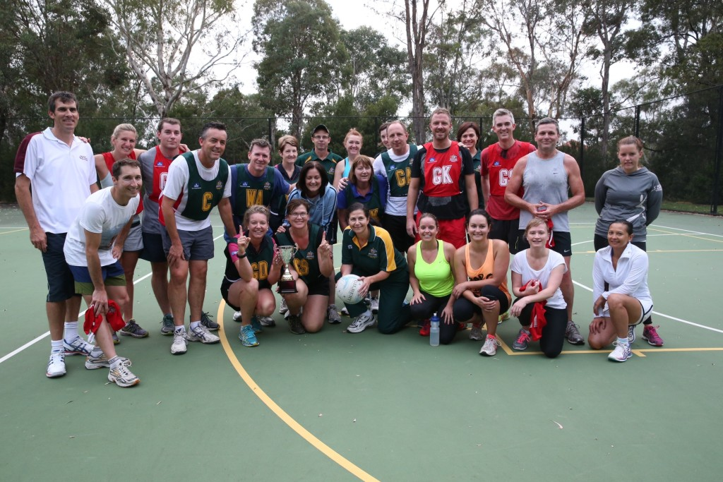 The combined teams at the annual Politicians vs Press Gallery netball match in Parliament House in Canberra, Wednesday 4th March 2015. The Pollies won the match 6 points to 4. Photo: Mike Bowers for The Guardian Australia
